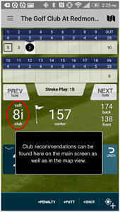 Golf PAD GPS App club recommendations
